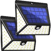 BAXiA Luz Solar Jardín 2400mAh, 1640LM Luces Solares con Sensor de Movimiento de 82 LED, Lampara Solar Exterior, Focos Solares de Seguridad para Jardín Entrada Patios Garaje, 2 Piezas