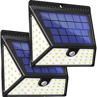 BAXiA Luz Solar Jardín 2400mAh, 1640LM Luces Solares con Sensor de Movimiento de 82 LED