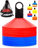 Pro Disc Cones (Set of 50) - Agility Cones with Carry Bag and Holder for Training, Soccer, Football, Kids, Sports, Field Cone Markers - Includes Top 15 Drills eBook