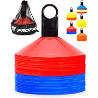 Pro Disc Cones (Set of 50) - Agility Soccer Cones with Carry Bag and Holder for Training, Football, Kids, Sports, Field…