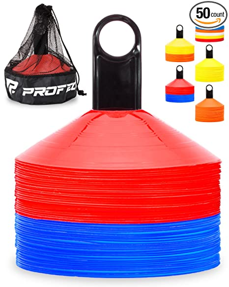 150f38f3a Pro Disc Cones (Set of 50) - Agility Soccer Cones with Carry Bag and Holder  for Training, Football, Kids, Sports, Field Cone Markers - Includes Top 15  ...