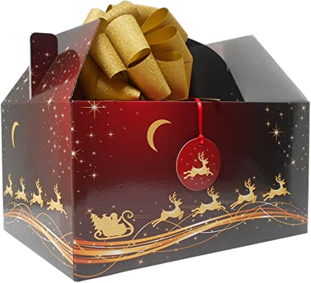 XMAS Gift Hamper 10 x RED GOLD SANTA REINDEER CHRISTMAS LARGE GABLE GIFT BOXES