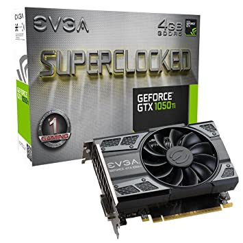 EVGA (04G-P4-6253-KR) NVIDIA GeForce GTX 1050 Ti SC (Single Fan) Gaming,  4GB GDDR5, DX12 OSD Support (PXOC) Graphics Card