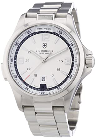 Victorinox Mens 241571 Night Vision Silver/White Stainless Steel Watch