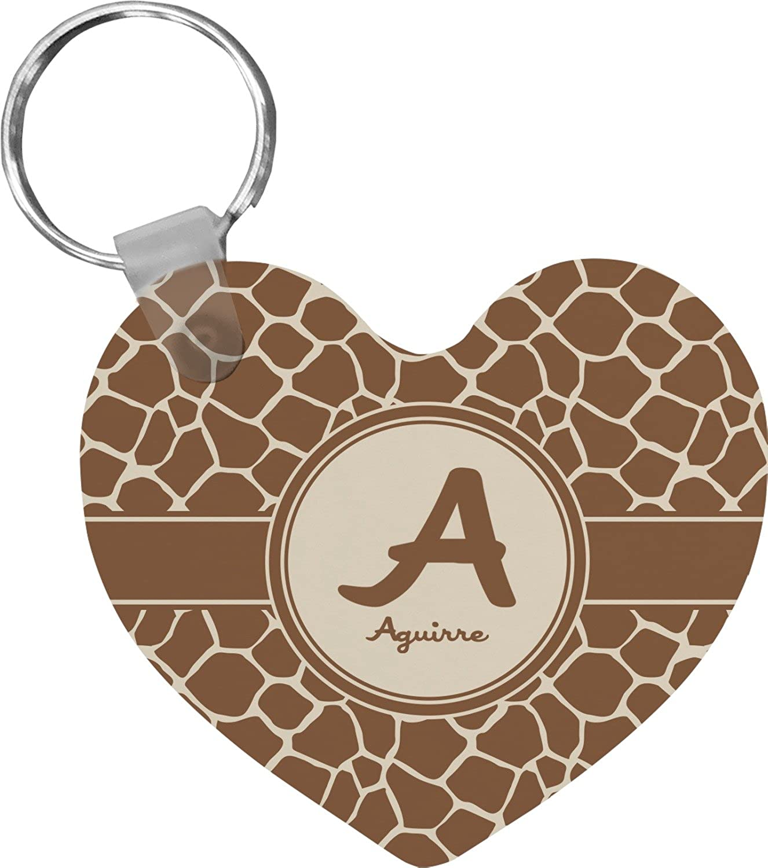 Giraffe Print Heart Keychain (Personalized)