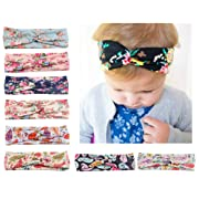 Baby Headbands Turban Knotted, Girl's Hairbands for Newborn,Toddler and Childrens (Cross Style 8 Pcs)