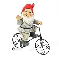 Gnomo de jardín adorno de equitación Metal bicicleta Estatua 33,5cm