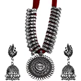 Kaizer Jewelry Antique German Silver Oxidised Plated Tribal Cotton Thread Jewelry Necklace Earring Set for Women & Girls.(Valentine Gift Special).