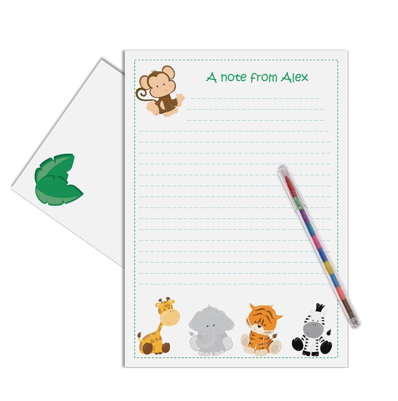 Wild Zoo Animal Personalised Childrens Stationery Letter Writing Set Amazoncouk Handmade