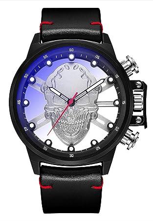 Actim Hueco Cabeza de Hueso Kopf Relojes Tendencia Cuarzo Hombres Reloj - Impermeable Luminoso, Silver: Amazon.es: Hogar