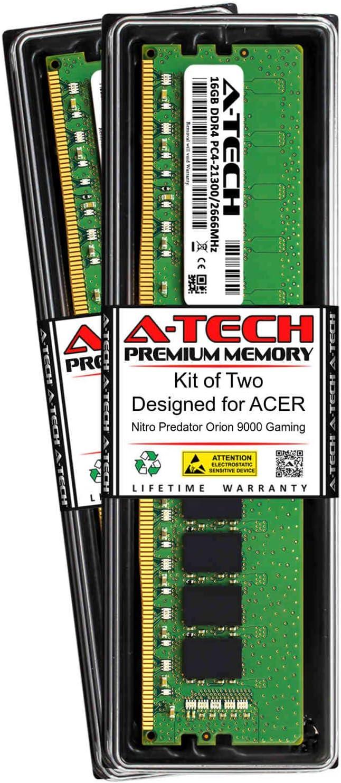 A-Tech 32GB (2 x 16GB) RAM for ACER Nitro Predator Orion 9000 Gaming   DDR4 2666MHz DIMM PC4-21300 288-Pin Non-ECC UDIMM Memory Upgrade Kit