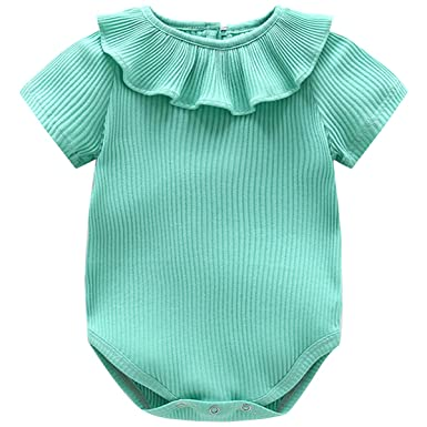 03eb3778dad Kanodan Baby Boy Girl Knit Romper Short Sleeve Summer Bodysuit Ruffle Neck  Striped Bodysuit Playsuit (