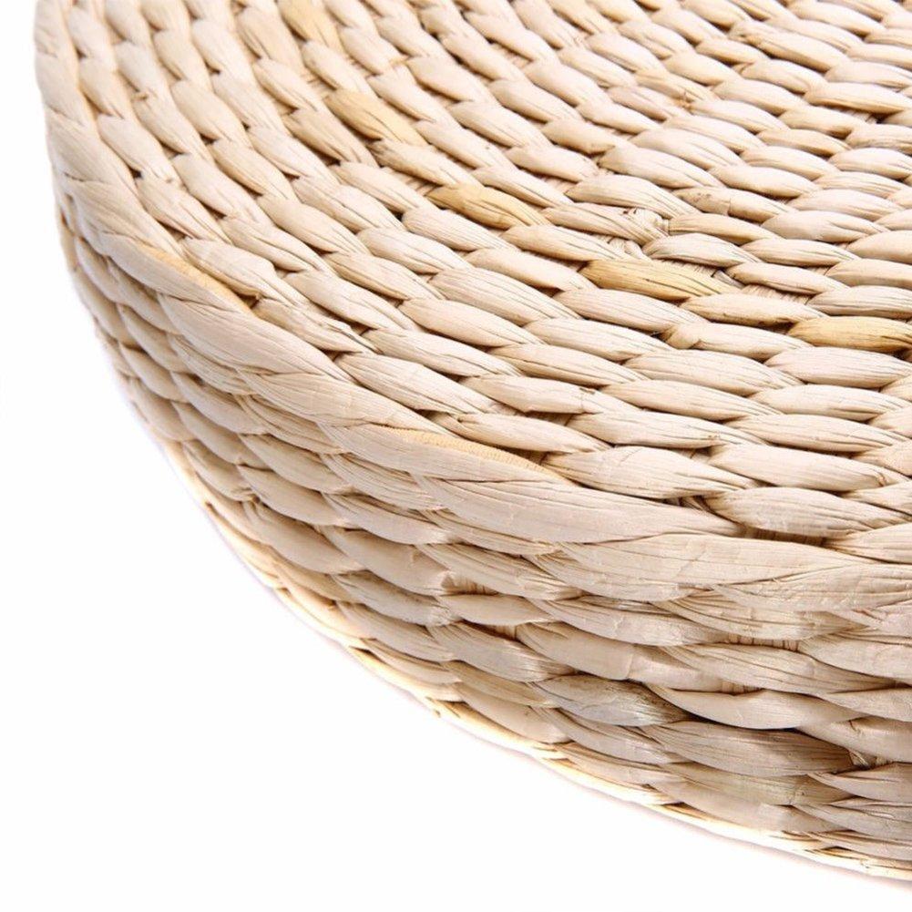 UxradG Sedia Mat Erba Cuscino Cuscino Beige a Mano Rotonda Straw Weave Pillow Tappetino Yoga Zen Home Garden Outdoor Patio Decor 40 Show 6 cm