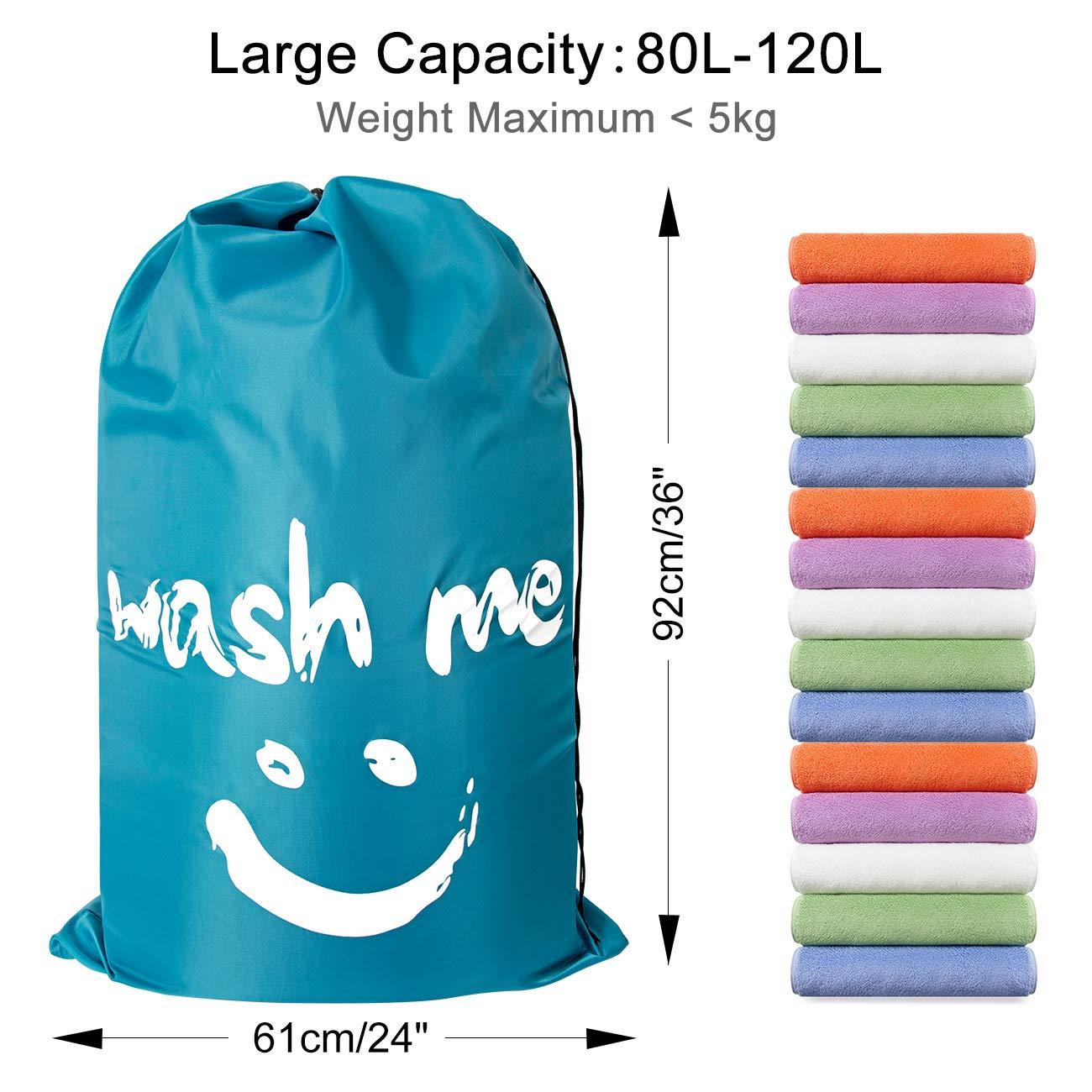 ZERO JET LAG 2 Pack Extra Large Travel Laundry Bag Set Nylon Rip-Stop Dirty Storage Bag Machine Washable Drawstring Closure 24'' x 36'' (Blue and Gray) by ZERO JET LAG (Image #3)