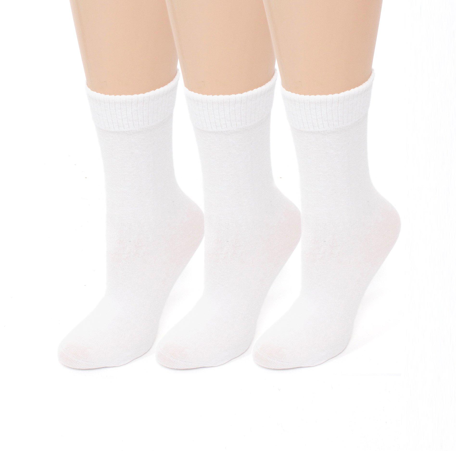 Diabetic Socks | Womens White Crew 3 Pack | Seamless Toe Size 9-11