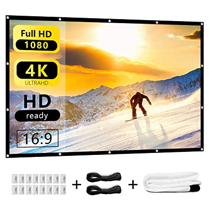 Nell Zimi 120 inch Projector Screen 16:9 HD Foldable Portable Wrinkle Free Indoor Outdoor Projector Movies Screen for Home Theater Outside Support Front and Rear Projection
