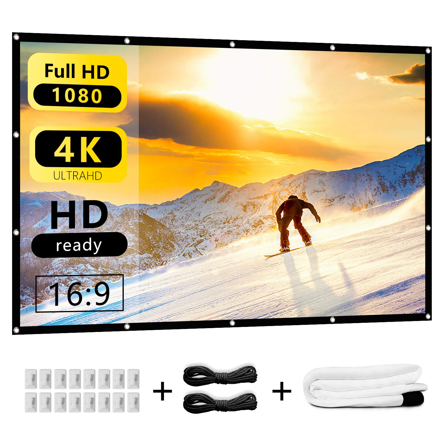 Indoor Outdoor Projector Screen 120 inch 16:9 HD Projection Foldable Anti-Crease Portable Movie Screens Backyard Home Theater, Support Double Sided Projection Nell Zimi