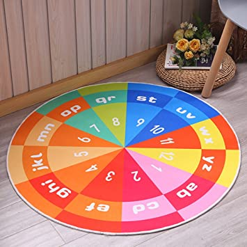 Kuke Kinderteppich Rund, Drehscheibe Muster,Spielmatte Baby,Runder Teppich  Strapazierfähig, Pflegeleicht