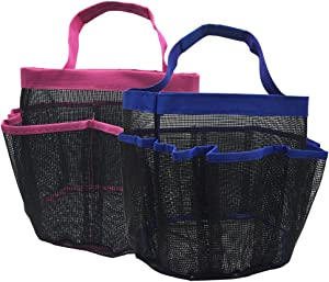 2 Pack kinla Mesh Shower Caddy Tote ,Quick Dry Dorm Hanging Shower Caddy ,Bath Organizers Perfect for Bathroom Dorm School and Travel