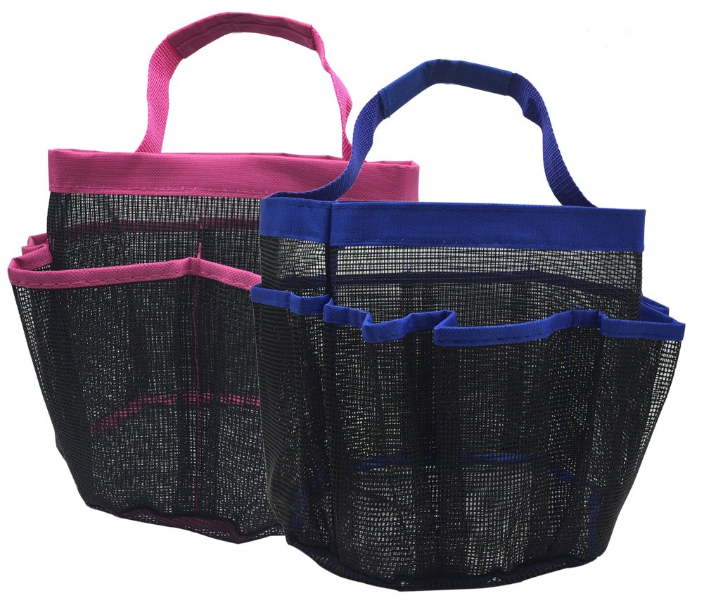 kinla Gym Dorm Shower Caddy Tote (Pack of 2)-Quick Dry Hanging Mesh Shower Caddy Bag,Bath Shower Organizer Perfect for Dorm Gym School and Travel Multi-Colored