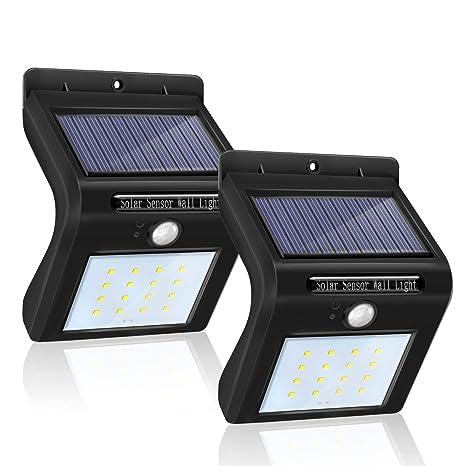 Foco Solar 16 LED Impermeable Lemebo, Luz Solar al Aire Libre, Luz de Sensor