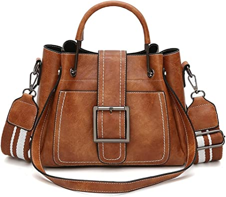 New! Retro Shoulder Bag, Women Leather Shoulder Bags Vintage Solid Handbag  Corssbody Bag(Brown, Free): Handbags: Amazon.com