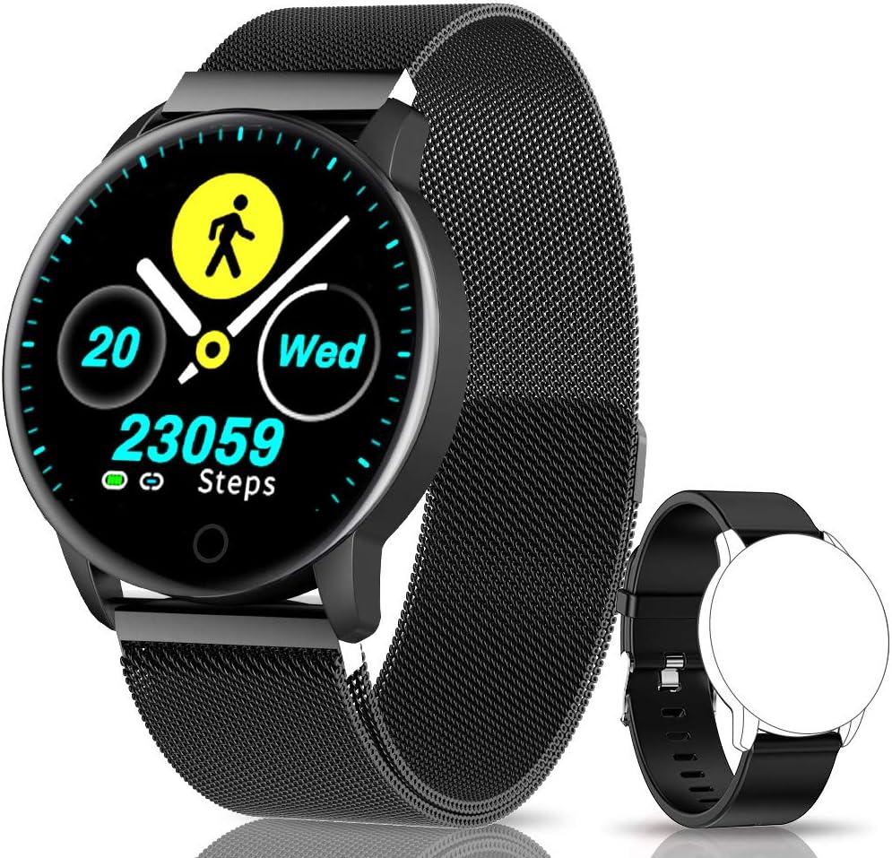 NAIXUES Smartwatch, Reloj Inteligente IP67 con Presión Arterial, 10 Modos de Deporte, Pulsómetro, Monitor de Sueño, Notificaciones Inteligentes, Smartwatch Hombre Mujer para iOS y Android (Negro)