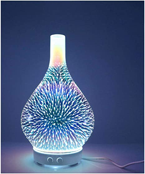 3D Glass Love Colorful LED Aromatherapy Essential Oil Diffuser, Humidifier, Sleeping Soothing Tools, Yoga Room Incense