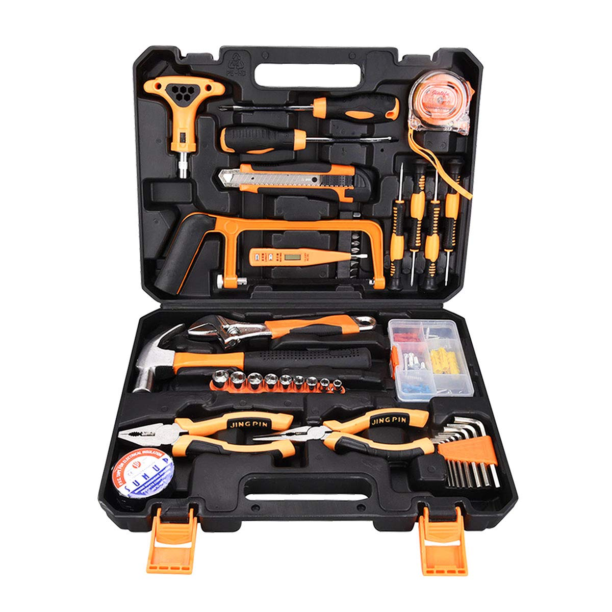 SOLUDE Home Repair Tools Sets,82 Pieces Saw Screwdrivers Sets General Household Hand Tool Kits with Plastic Toolbox Storage Case