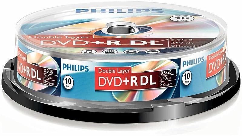 Philips DVD+R - DVD+R (8,5 GB de datos/240 minutos de vídeo, 8 x alta velocidad, husillo de 10 unidades, doble capa DL): Amazon.es: Informática