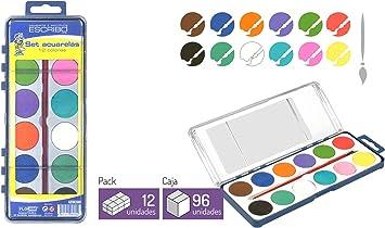 Estuche 12 Acuarelas con Pincel - 2 Packs - Ideal para niños - Pintar Dibujos, paisajes, Cuadros de Forma facil.: Amazon.es: Juguetes y juegos