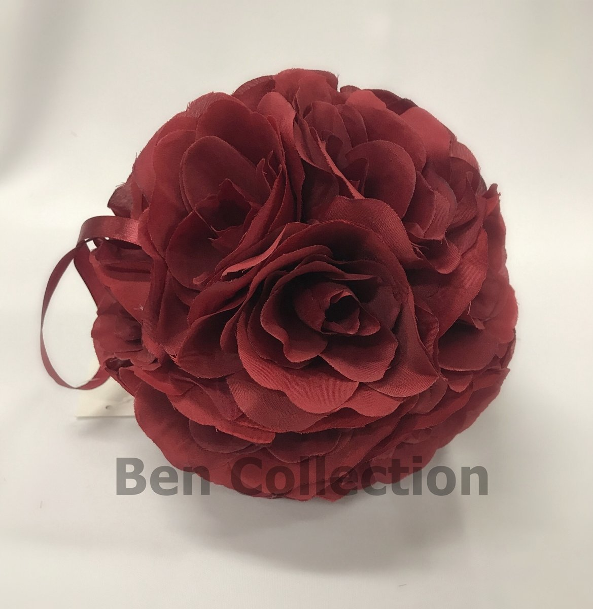 10-Pack-7-Inch-Romantic-Rose-Pomander-Flower-Balls-Rose-Bridal-for-Wedding-Bouquets-Artificial-Flower-DIY-Burgundy-By-Ben-Collection