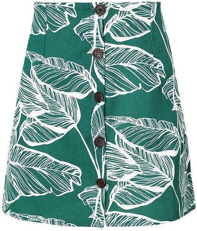 Falda De Las Mujeres Jungle Print Leaf Graphic Button Up Ropa ...