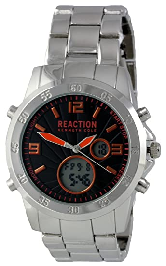Kenneth Cole Reaction analógico Digital hombres reloj de pulsera de acero plateado 10032093: Amazon.es: Relojes