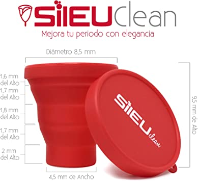 Sileu Esterilizador Plegable de Silicona con Tapa Reutilizable para Esterilizar la Copa Menstrual en el Microondas - Color Rosa