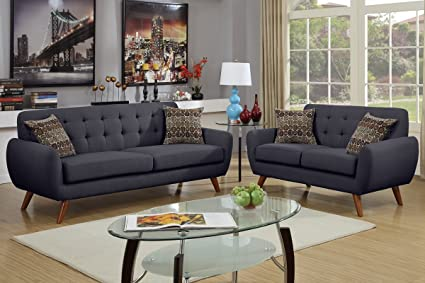 Bon 2Pcs Modern Ash Black Polyfiber Linen Like Fabric Sofa Loveseat Set With  Accent Tufting On