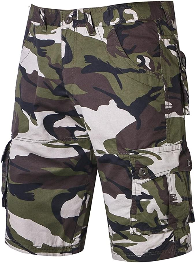 Pop Men Cargo Shorts Camo Pockets Short Pants Outdoor Camping Military Trousers