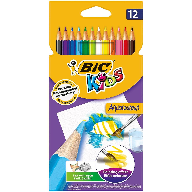 Bic Kids Aquacouleur Matite Colorate Acquerellabili Confezione da 12 Matite Colori Assortiti 8575613