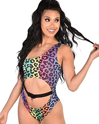 292d17f83504 iHeartRaves Leopard One Shoulder Buckled Cutout Bodysuit (Rainbow, X-Small)