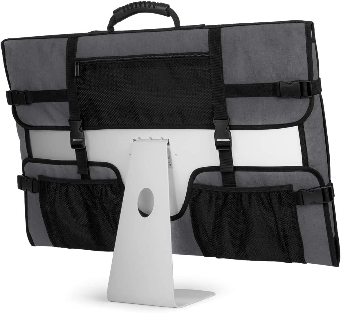 """CURMIO Travel Carrying Case for Apple 21.5"""" iMac Desktop Computer, Protective Storage Bag Monitor Dust Cover with Rubber Handle for 21.5"""" iMac Screen and Accessories, Gray, Patent Design."""
