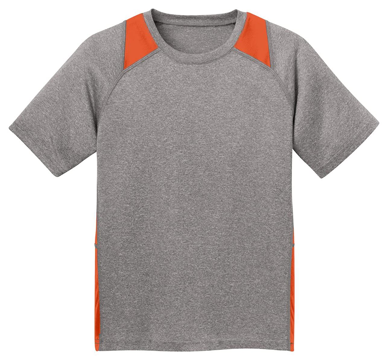 Vnt He//Dp Orng Sport Tek Youth Heather Colorblock Contender T-Shirt-L
