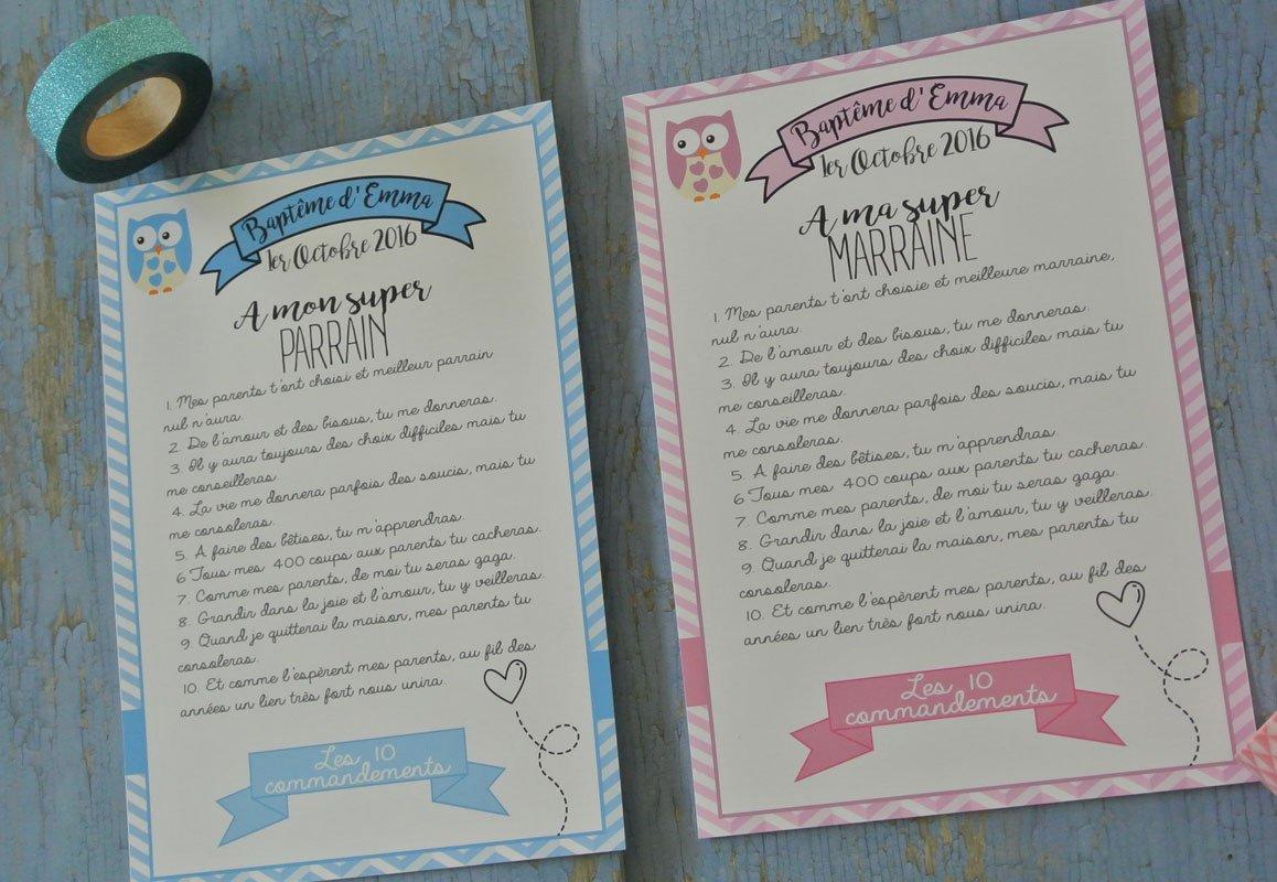 2 grands cartes les 10 commandements du parrain et de la marraine thème Chouette rose et bleu