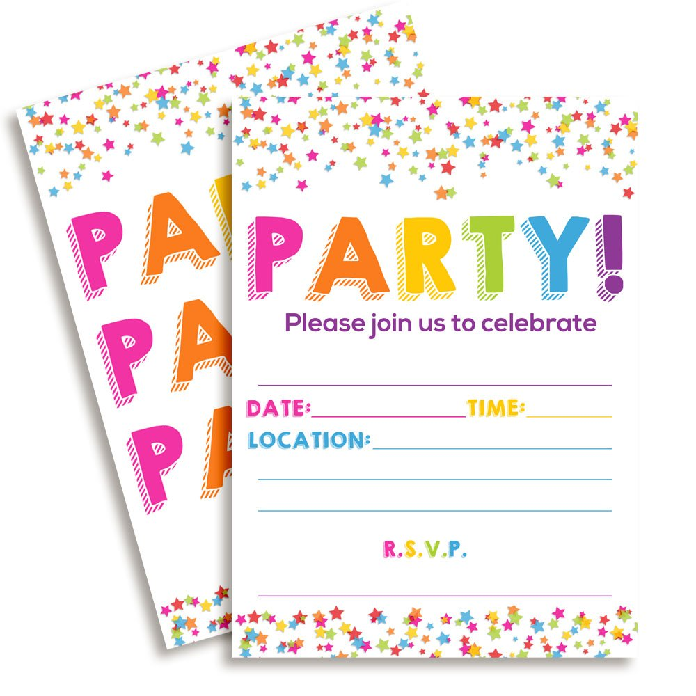 Amanda Creation Confetti Party Themed Fill in Invitations Set of 20