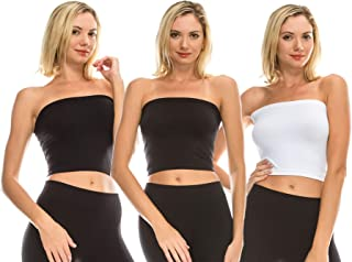 product image for Kurve Women's Strapless Tube Top - 3 Pack Medium Length Bandeau Bra Tops, UV Protective Fabric UPF 50+ (Made in USA)