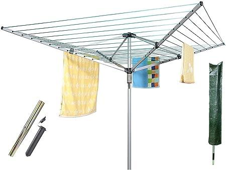 2 étendoirs à linge avec 4 bras et 60 m de corde à linge