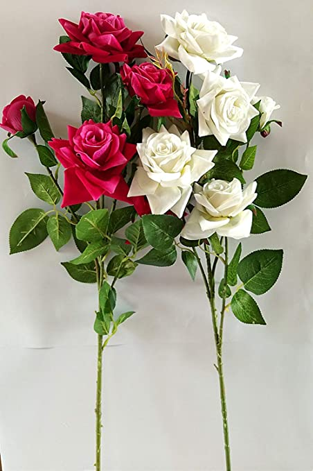 Buy Artificial Flower Real Touch Pink and White Roses Bunch