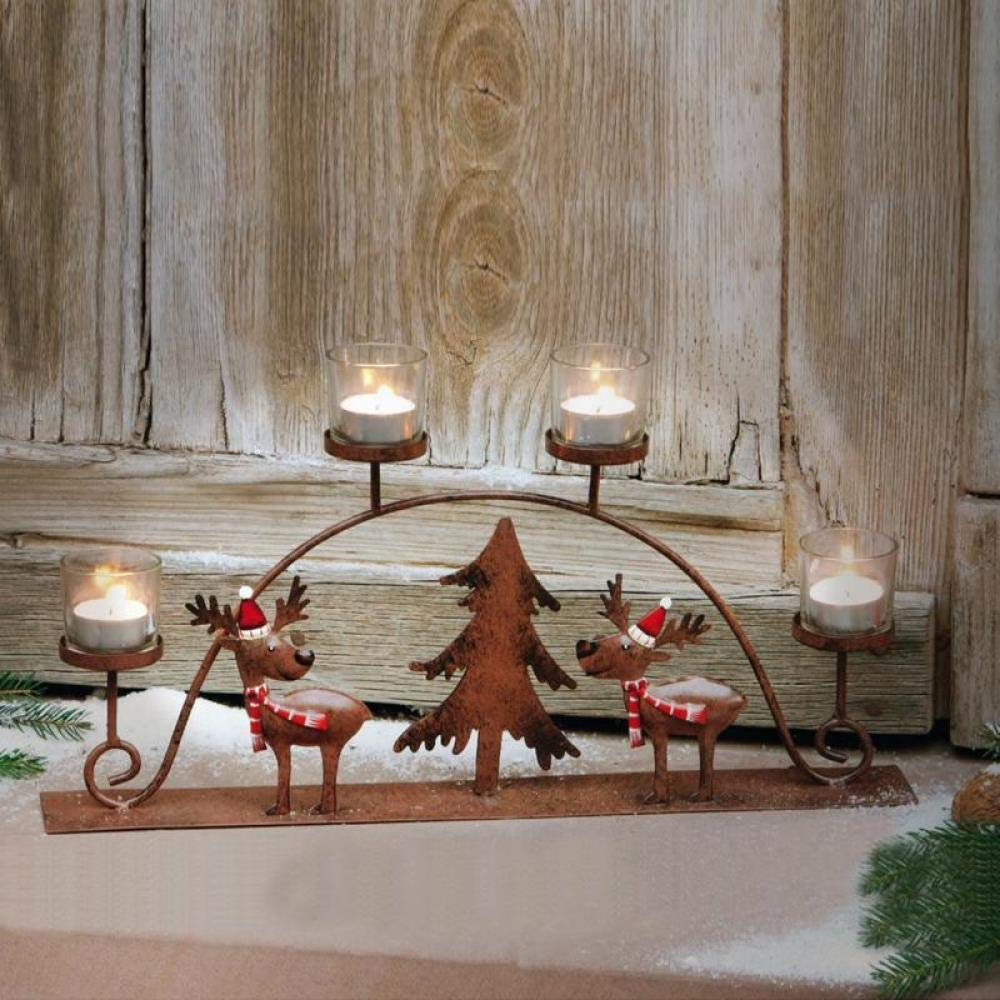 Aqumotic Christmas Elk Carriage Candlestick Deer Sleigh Candle Cup Candle Holders, Multi