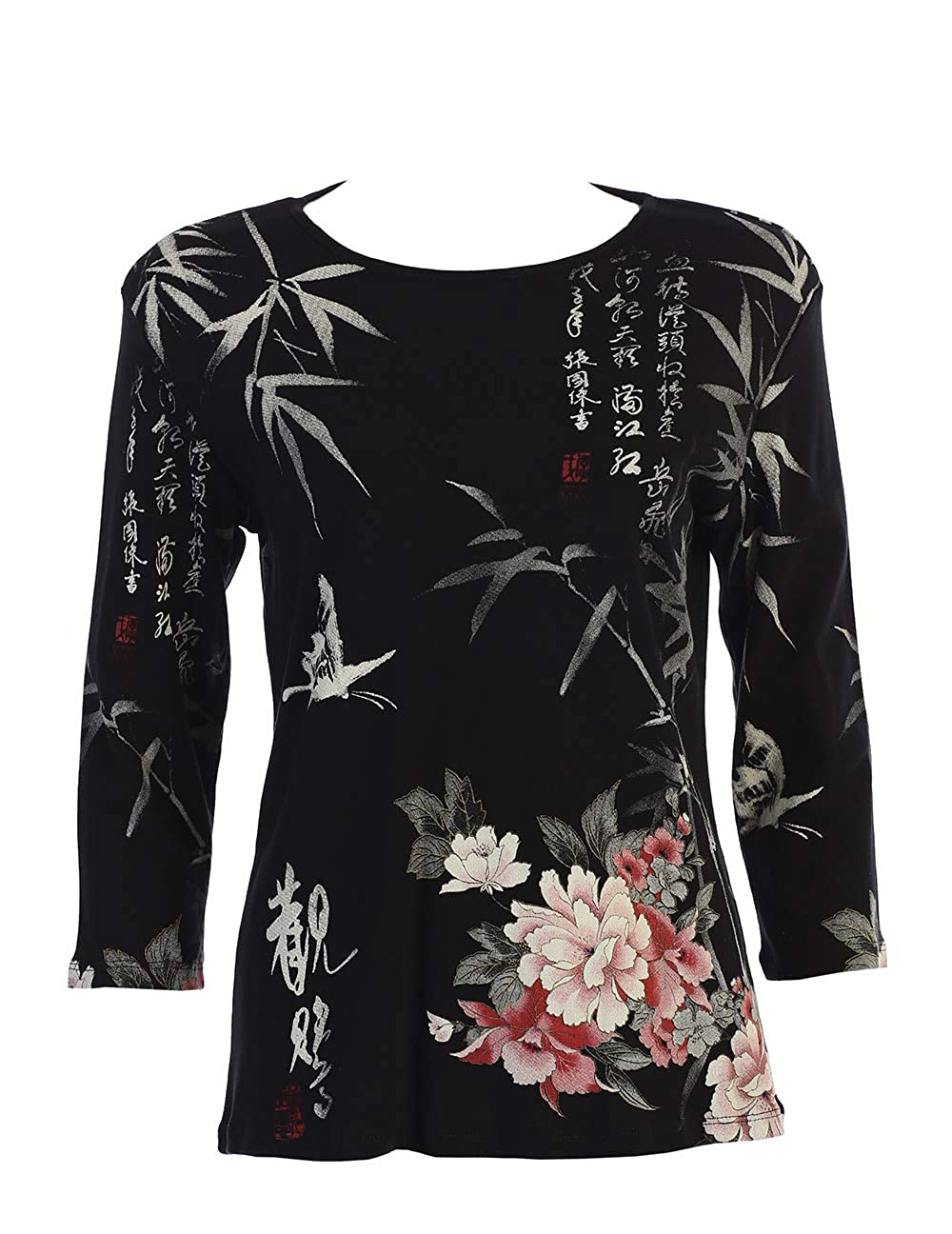Jess & Jane Calligraphy & Floral Print Cotton Top in Black Multi  141192