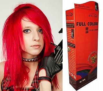 teinture coloration cheveux permanente goth emo elfe cosplay rouge feu vif - Coloration Rouge Permanente