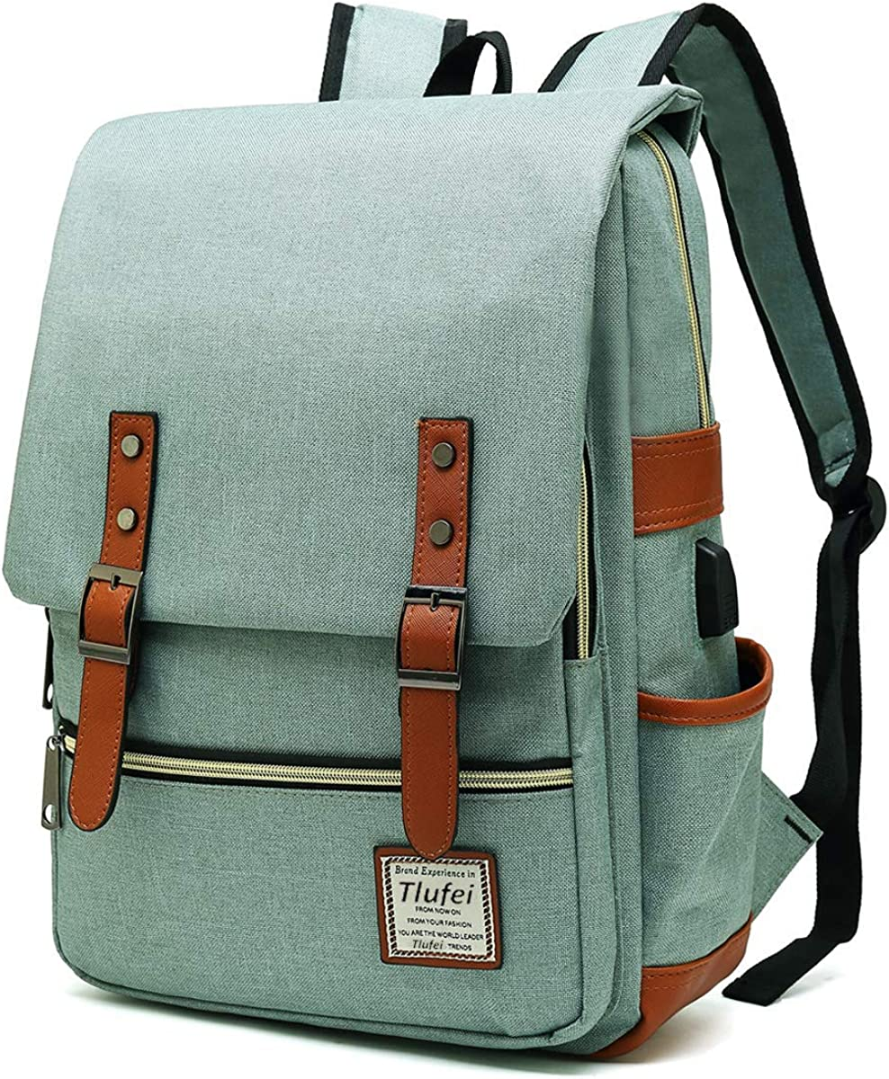 Tlufei Upgraded Slim Vintage Laptop Backpack for Women ,Men for travel,School Backpack fits up to 15.6 Inches Macbook